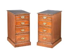 PAIR OF VICTORIAN OAK BEDSIDE PEDESTALS