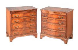 PAIR OF MAHOGANY SERPENTINE FRONT CHESTS OF DRAWERS