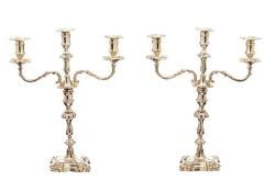 PAIR OF VICTORIAN SILVER CANDELABRA