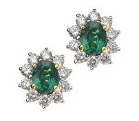 18CT GOLD EMERALD AND DIAMOND EARRINGS