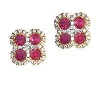 18CT GOLD RUBY AND DIAMOND EARRINGS