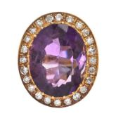 1950'S 18CT GOLD AMETHYST AND DIAMOND RING