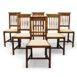 Arts & Crafts, a set of six oak dining chairs Early 20th Century With slatted backs, above