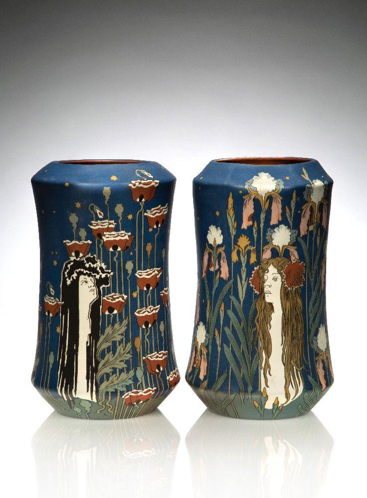 """Hans Christiansen (1866-1948), a Pair of Mettlach Art Nouveau stoneware vases, """"Die Nacht"""" (The"""