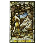 """Late 19th Century, a Stained and leaded glass Shakespearian window """"I could find in my heart to"""