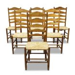 A set of six Gimson style ladder back chairs by Neville Neal c.1980, three chairs stamped With