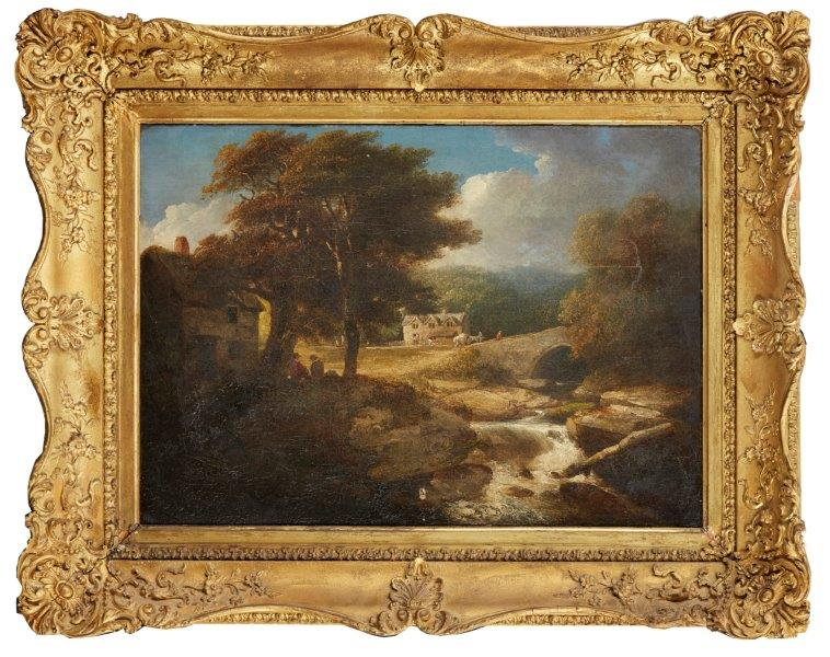 Lot 178 - William Payne, British 1760-1830- Ivy Bridge; oil on canvas, signed and titled on the reverse of the