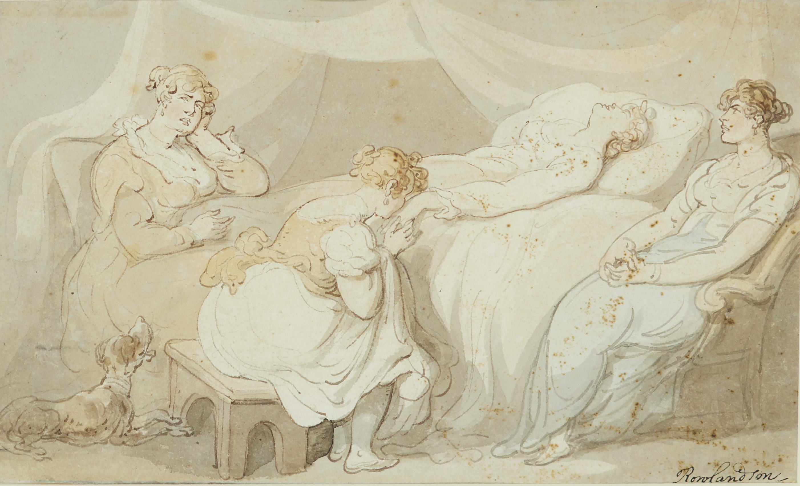 Lot 173 - Thomas Rowlandson, British 1756-1827- On her death bed; pen and brown ink and watercolour, signed,