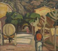 Maurice Albert Loutreuil, French, 1885-1925- Alliée du Village; oil on canvas, signed lower left, 58