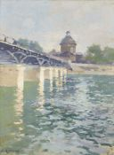 Ernest Jules Renoux, French 1863-1932- Les Pont des Arts; oil on board, signed lower left, bears