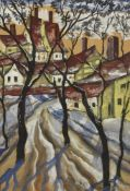 Hugó Scheiber, Hungarian 1873-1950- Road to the Village; gouache, signed lower right, 59 x 41cm (