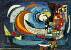 Pierre de Berroeta, French 1914-2004- Composition Dynamique, 1958; oil on canvas, signed and dated