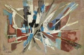 Pierre de Berroeta, French 1914-2004- Composition, 1961: oil on canvas, signed and dated 61 lower