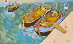 Fikret Mualla, Turkish 1903-1967- Péniches sur la Seine; gouache, signed lower right, 34.7 x 55.8 (