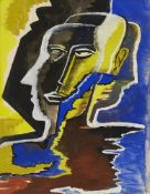 Ossip Zadkine, Russian/ French 1890-1967- Portrait d'hommes (portrait of men), 1948; watercolour and