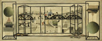 Claude Venard, French 1913 - 1999- Vue de la Cité; oil and pencil on canvas, signed lower right,