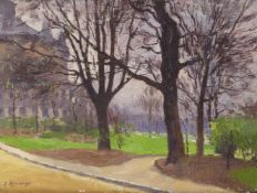 Ernest Jules Renoux, French 1863-1932- Jardin et Palais du Trocadéro; oil on panel, signed lower
