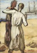 Emmanuel Charles Bénézit, French 1887-1975- Deux personnes au board de la mer; oil on panel,