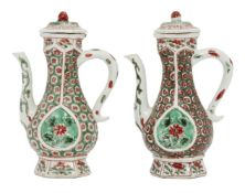 A pair of Chinese porcelain hexagonal ewers and covers for the Islamic market, Kangxi period,