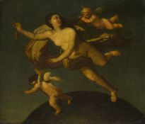 Circle of Michele Rocca, Italian c. 1666-c.1751- Allegorical figure with two cherubs; oil on canvas,