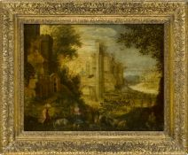 Follower of Paul Bril, Flemish c.1553/4-1626- View of the Roman Forum; oil on panel, 44.5x58cm Note: