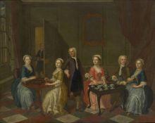 Follower of Gawen Hamilton, Scottish 1698-1737- A conversation piece with elegant figures playing