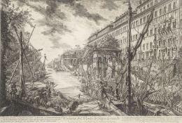 Giovanni Battista Piranesi, Italian 1720-1778- Veduta del Porto di Ripa Grande; etching, 40.3x61.