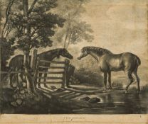 After George Stubbs ARA, British 1724-1806- Two Horses; mezzotint with some etching, pub. Oct. 26