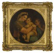 After Raphaello Sanzio, called Raphael, Italian 1483-1520- Madonna della Sedia; oil on canvas,