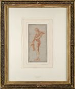Circle of Gilles Demarteau, French 1722-1776- Study of a draped male nude; red chalk, bears