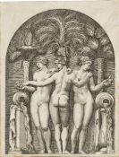 Marco Dente, Italian act.1515-1527- Speculum Romanae Magnificentiae: The Three Graces, after