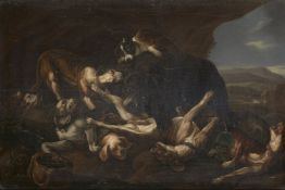 After Johannes Fijt, Flemish 1611-1661- Dogs and a Bear fighting; oil on panel, signed indistinctly,