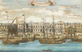 Benjamin Cole, British fl.1723-1767- The Custom House, from John Stowe's 'A Survey of London';