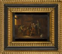 Manner of David Teniers the Younger- Tavern scene; oil on panel, 16.5x22.5cmIn a gilded ripple