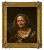 Giuseppe Nogari, Italian 1699-1763- Portrait of an elderly woman; oil on canvas, bears inscribed
