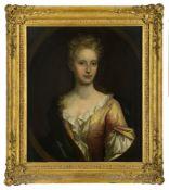 Follower of Sir Godfrey Kneller, German/British 1646-1723- Portrait of a lady, half-length, turned