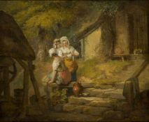 Francis Wheatley RA, British 1747-1801- Three Country Girls by a Well; oil on canvas, signed and