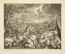 Cornelis de Visscher, Dutch 1629-1658- The Annunciation to the Shepherds, after Jacopo Bassano;