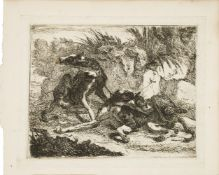 Jan Fyt, Flemish 1611-1661- Landscape with Greyhound and Rifle, and Two Greyhounds, leashed and