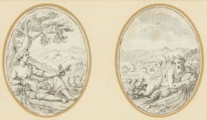 Genoese School, early 17th century- Two mythological figures; pen and grey black ink and wash on