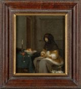 After Gerard ter Borch, Dutch 1617-1681- Woman Peeling an Apple; oil on panel, 35x29cm Note: This