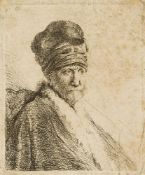 Rembrandt van Rijn, Dutch 1606-1669- Bust of a Man wearing a high cap (the artist's father?),