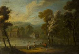 Flemish School, 18th century- Tranquil rural scene with villagers by a woodland and a lake; oil on