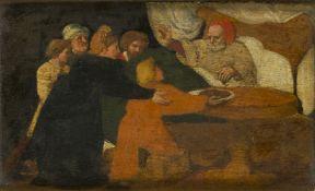 Venetian School, late 17th century- Jacob Blessing Esau; oil on panel, 14x22.5cmin a glazed parcel