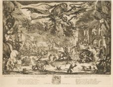 After Jacques Callot, French 1592-1635- The Temptation of St. Anthony; etching on laid paper (