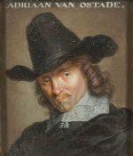 After Adriaen van Ostade, Dutch 1610-1685- Self-Portrait of the artist, after Jacob Gole; oil on