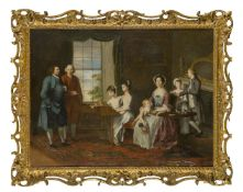 English School, circa 1760-1780- Portrait of Sir John and Lady Hopkins with their children, and