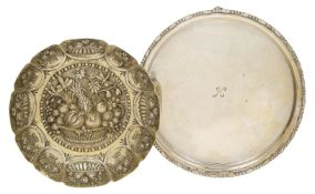A Victorian repousse silver dish, London, c.1883, John Aldwinckle & James Slate, together with a