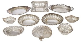 A collection of nine silver bonbon dishes, various shapes, sizes, dates and makers including: a