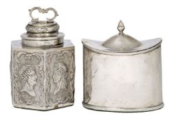 A continental silver tea caddy, possibly Italian, with foreign import marks (1867-1904), the caddy